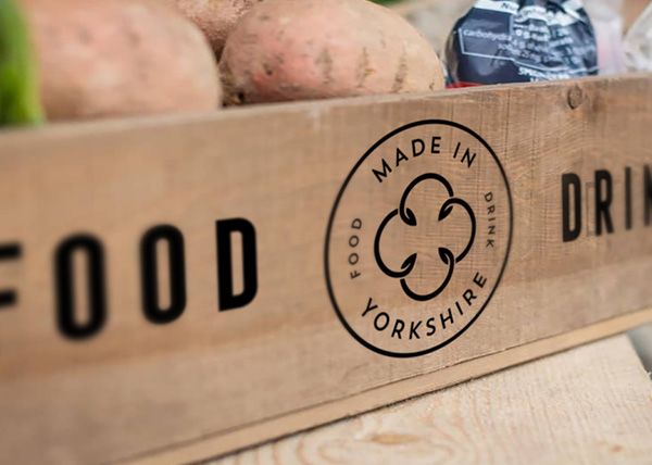 Food crate with Yorkshire Mark logo
